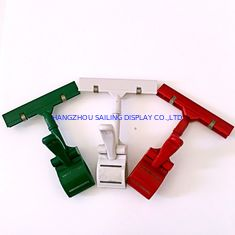 Cina Colorful Thumb Price Tag Holder Clip , Supermarket Pop Clip In Red Green White pemasok