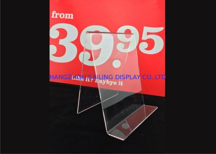 Custom Clear Acrylic Sign Holder , Acrylic Menu Poster Holders For Display pemasok